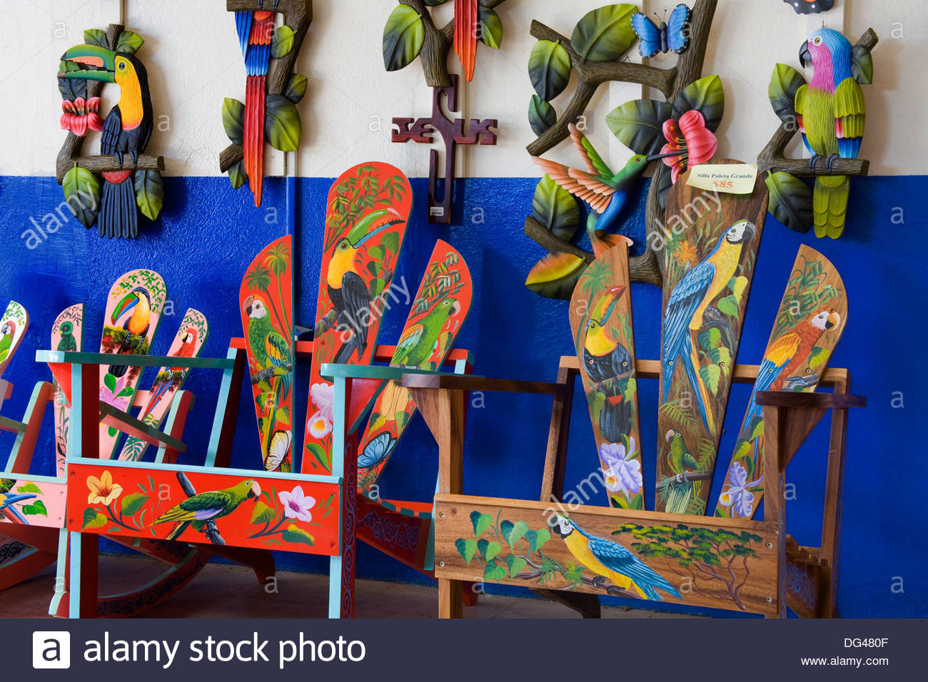 decorative chairs in sarchi village central highlands costa rica