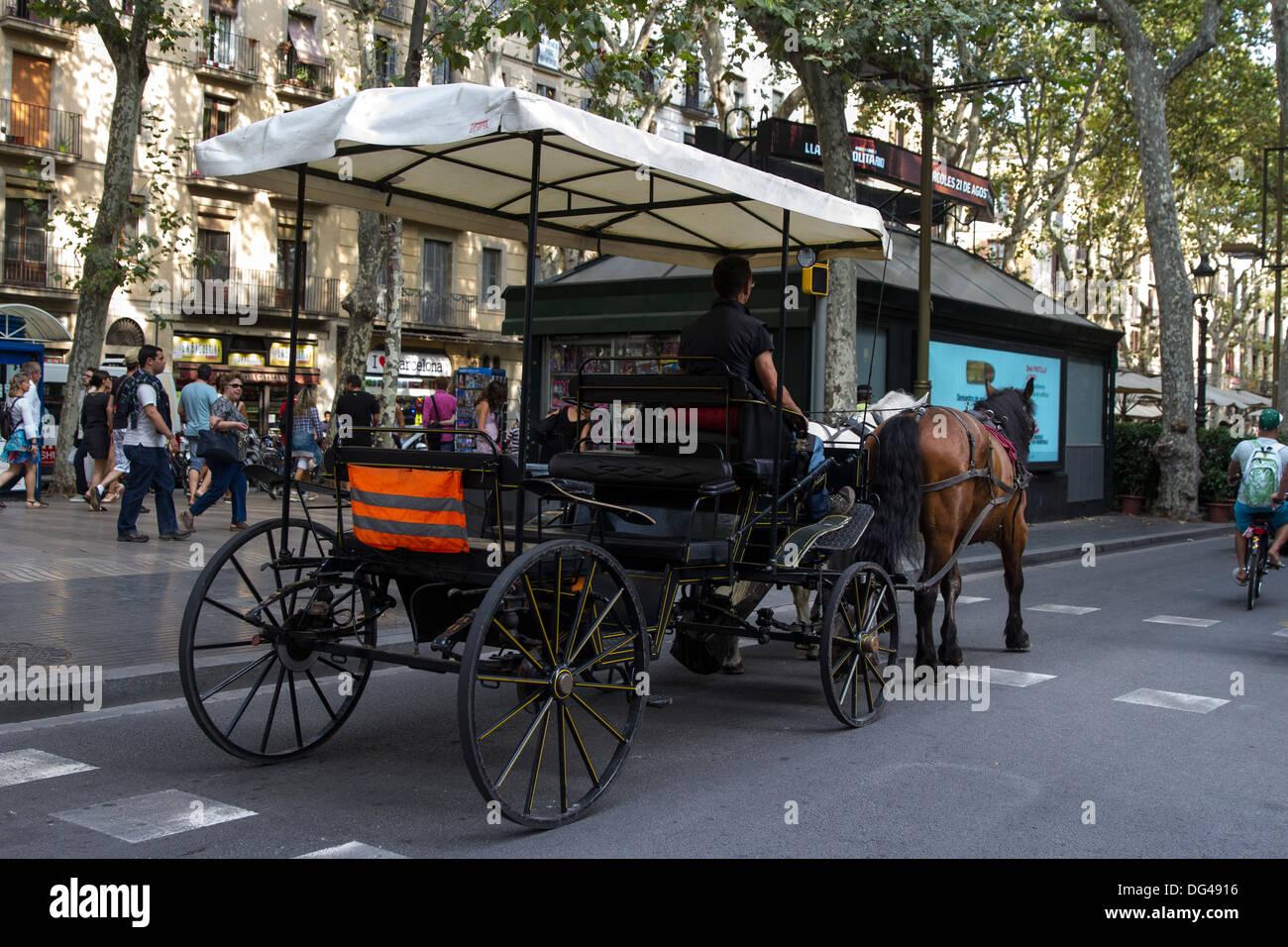 Horse Carriage on La Rambla - Stock Image