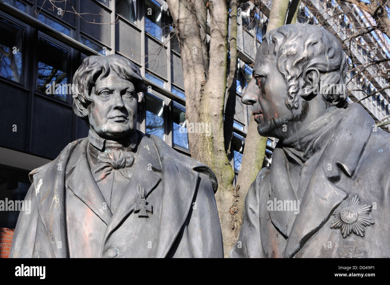 Sculpture of Christian P. W. Beuth and Wilhelm von Humboldt outside the German Institute for Standardization, Berlin, Germany. - Stock Image