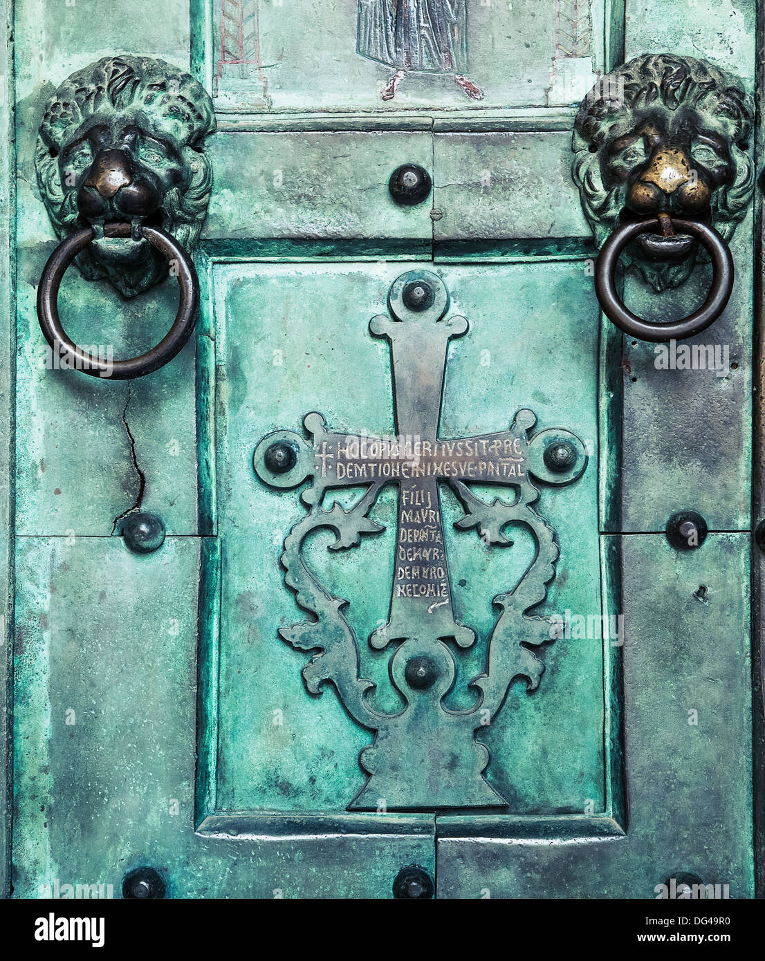 Holy Cross, old, door, Amalfi Cathedral, Italy. 9th-century Roman Catholic structure. It is dedicated to the Apostle Saint Andre - Stock Image