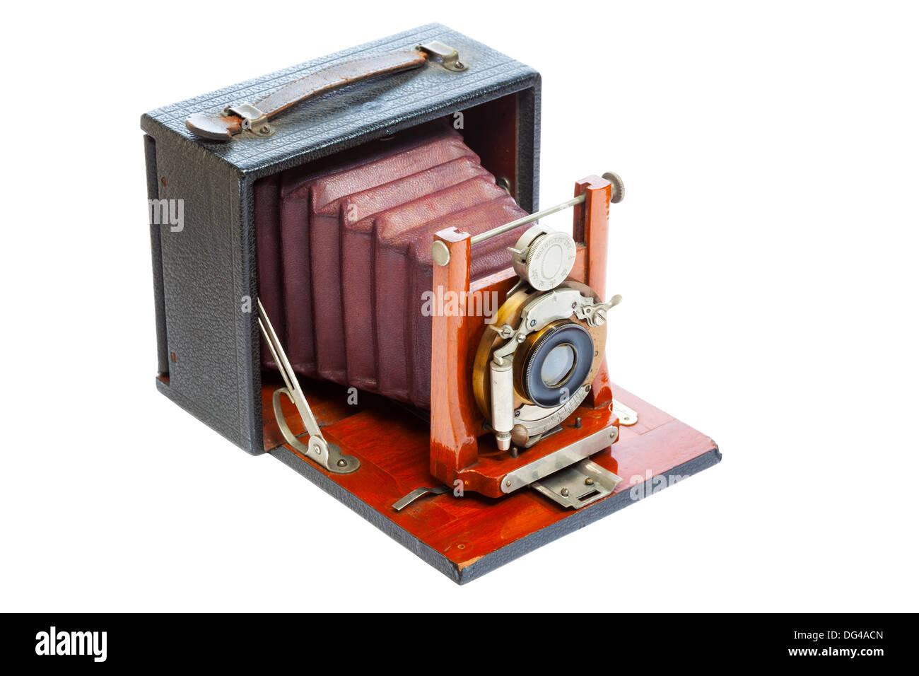 Antique view Camera with leather bellows isolated on a white background - Stock Image