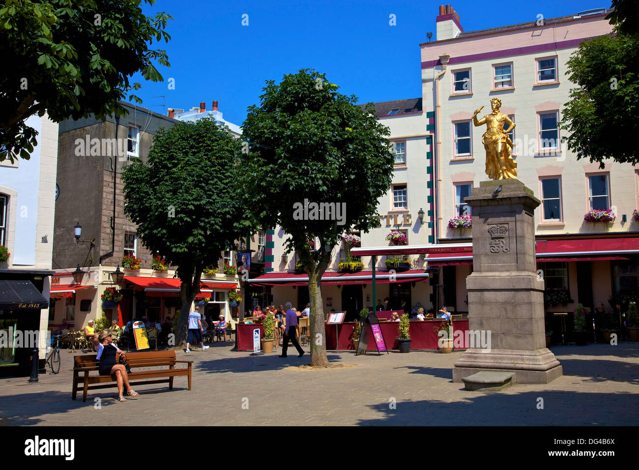 Statue of King George II, Royal Square, St. Helier, Jersey, Channel Islands, Europe - Stock Image