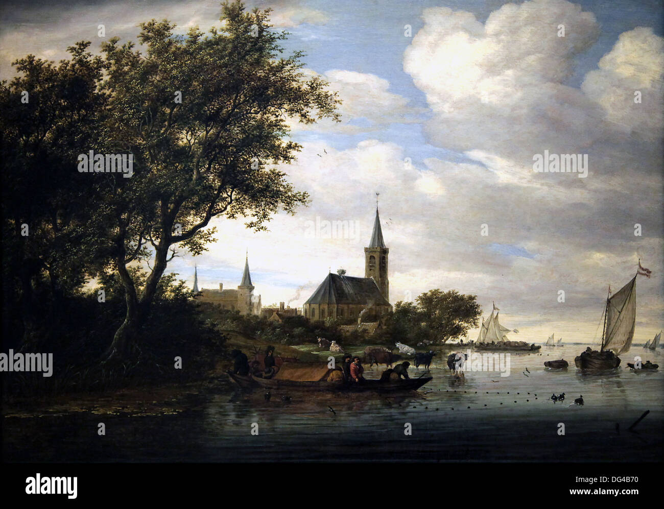 Riverscene with fishingboats in the foreground 1664 Salomon Jacobsz van Ruysdael. Stock Photo