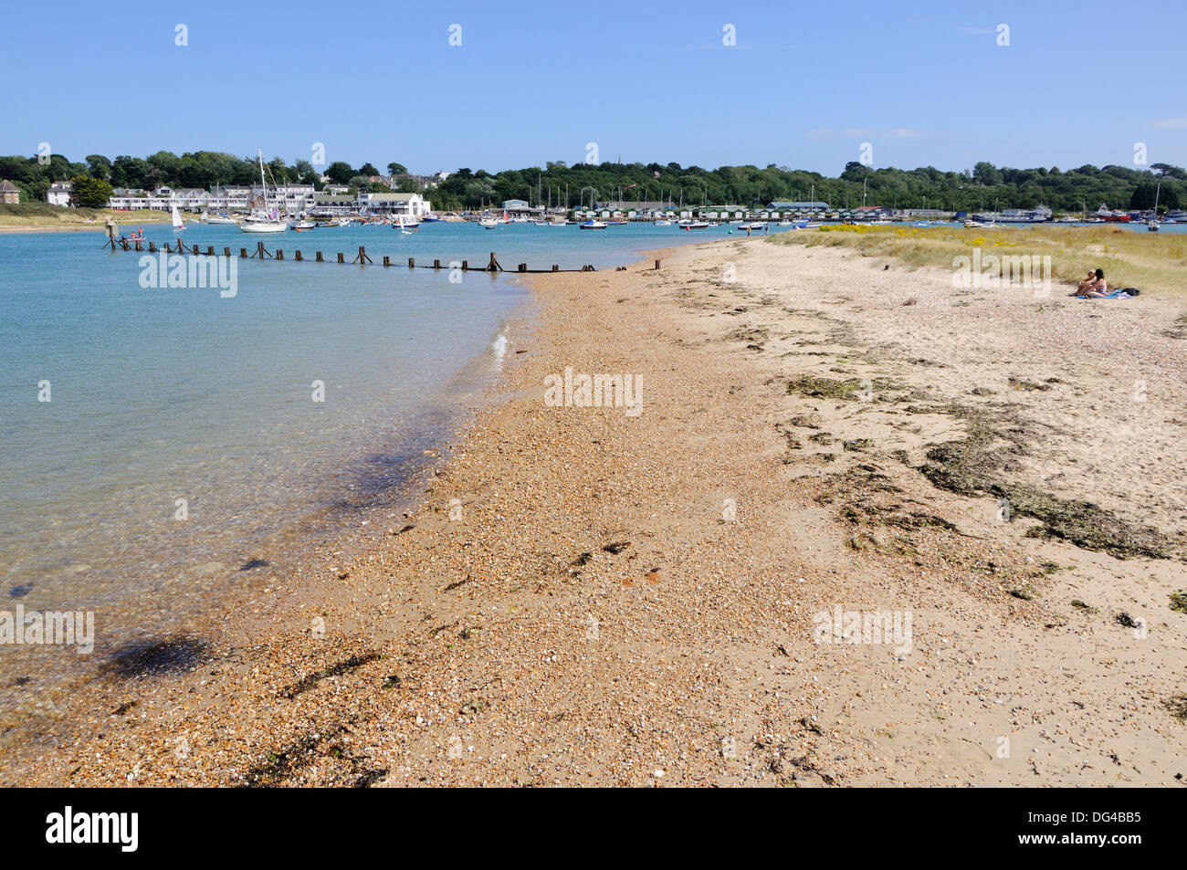 St. Helen's beach and Bembridge Harbour, Isle of Wight - Stock Image