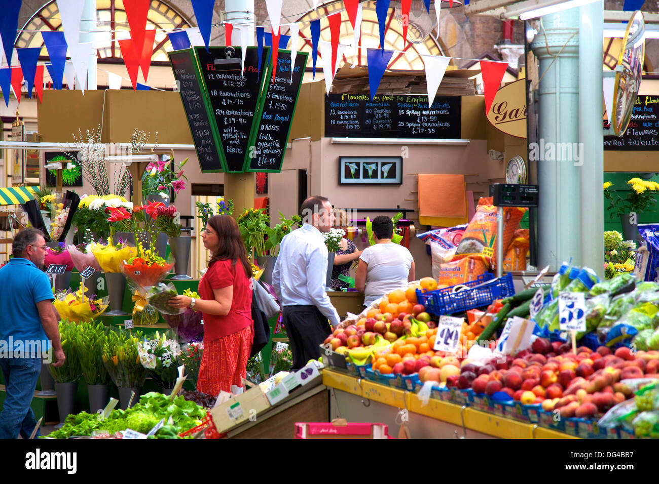 Interior of Central Market, St. Helier, Jersey, Channel Islands, Europe - Stock Image