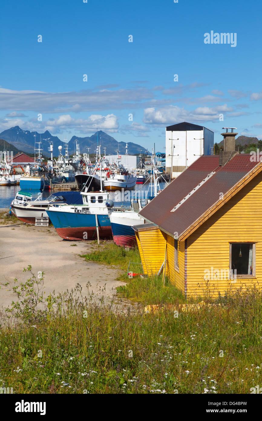 The shipping town of Ballstad, Vestvagoy, Lofoten Islands, Nordland, Norway, Scandinavia, Europe - Stock Image