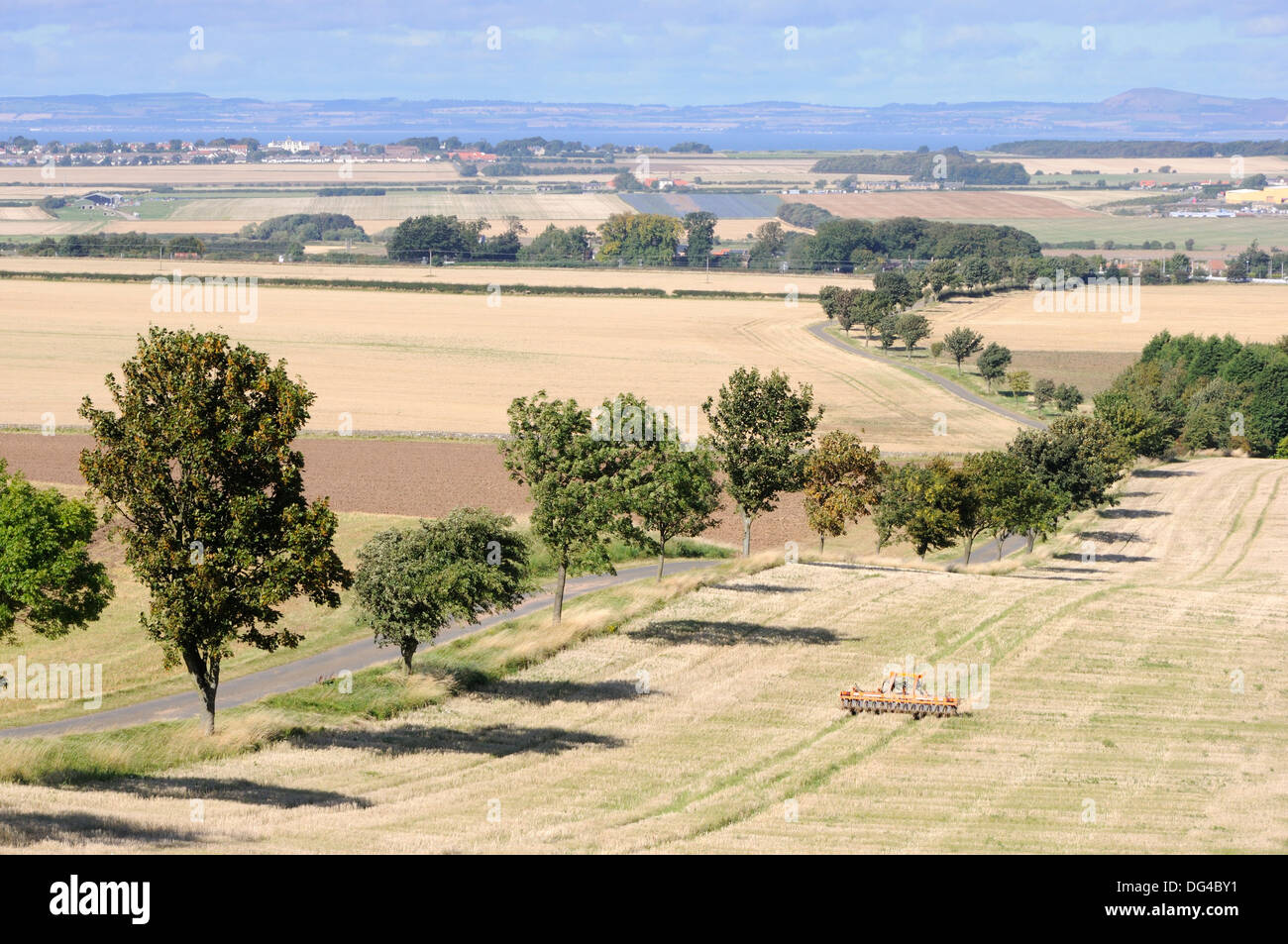 Looking towards the village of Drem from Kilduff Hill, East Lothian, Scotland - Stock Image