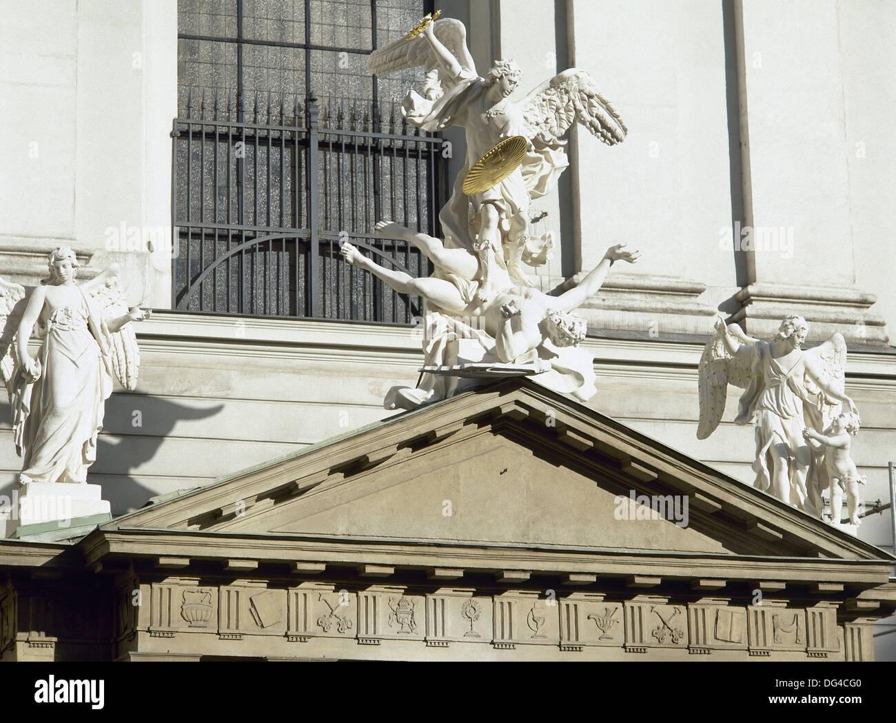 Austria. Vienna. Saint Michael's Church. Statue of Archangel Michael, 1725, by Lorenzo Mattielli (1678/88-1748). - Stock Image