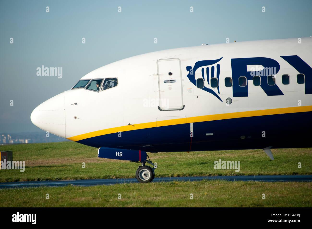 Ryanair Jet Plane on runway at Liverpool Airport - Stock Image