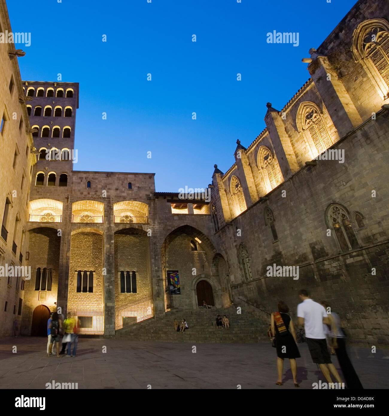 Palau Reial Mayor, Santa Agatha Chapel, Placa del Rei. Barri Gotic. Barcelona. Catalonia. Spain. - Stock Image