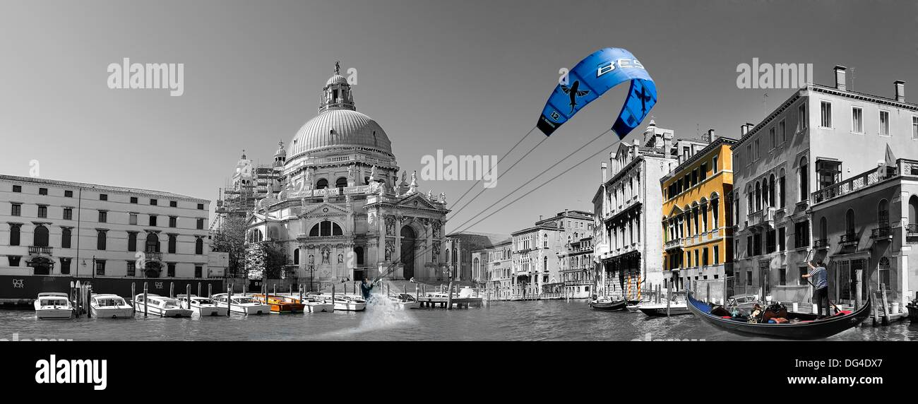 Photomontage in black and white with color accents making kitesurf by the city of venice italy