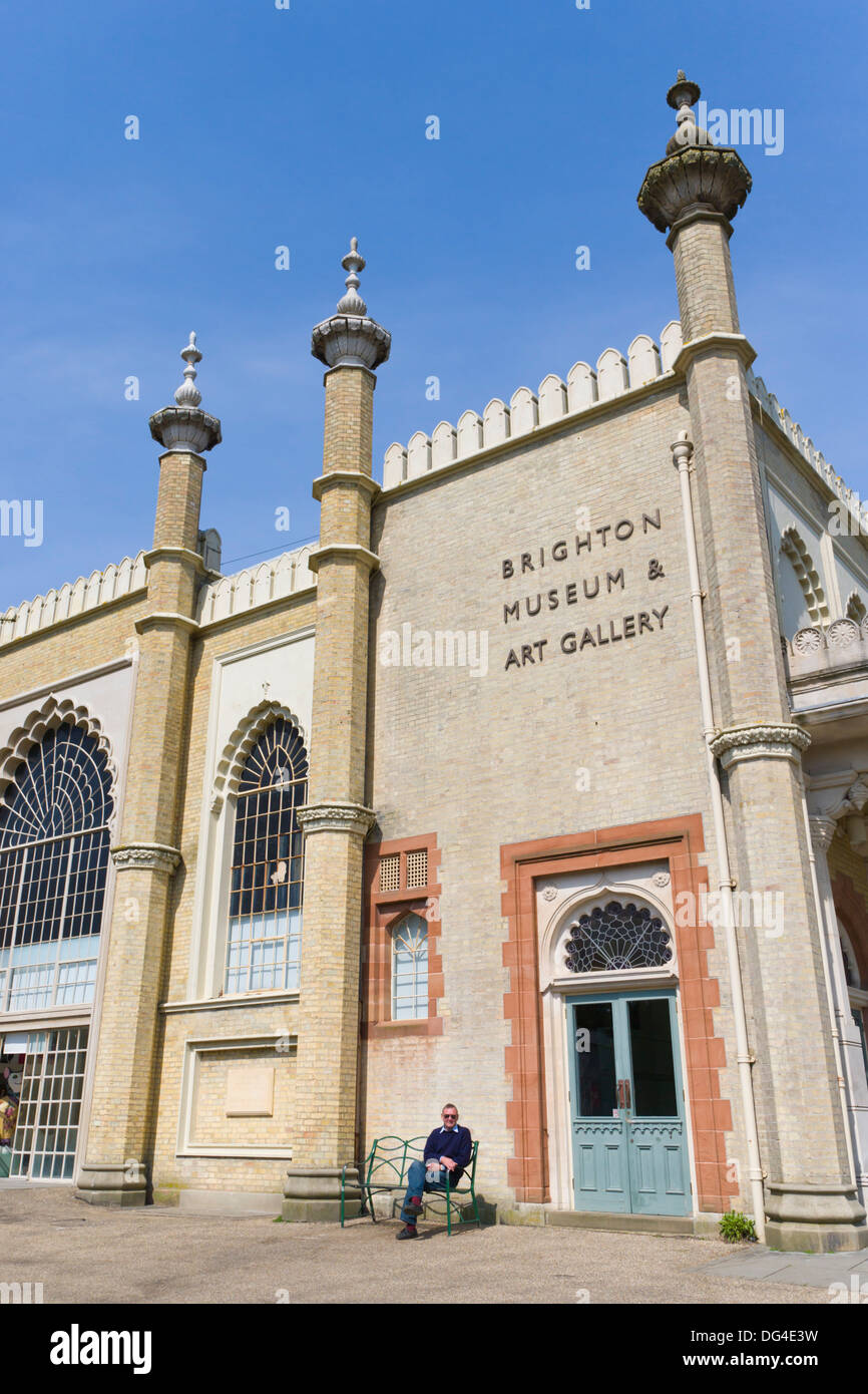 Brighton Nuseum and Art Gallery from Royal Pavilion Gardens, Brighton, East Sussex, England, UK. - Stock Image