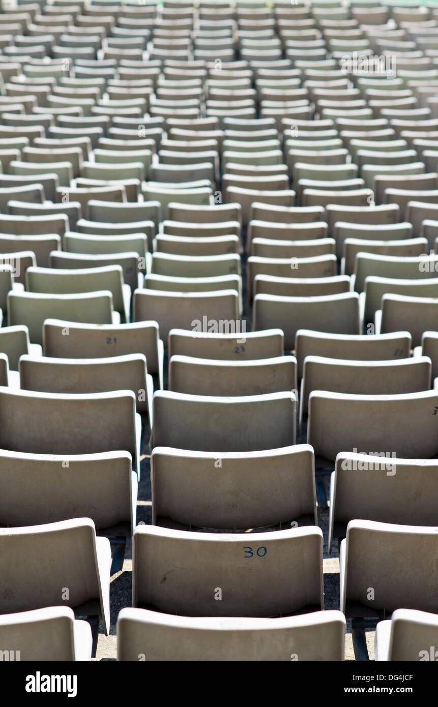 Olympic stadium in Mont Juic park  Barcelona  Catalonia  Spain - Stock Image