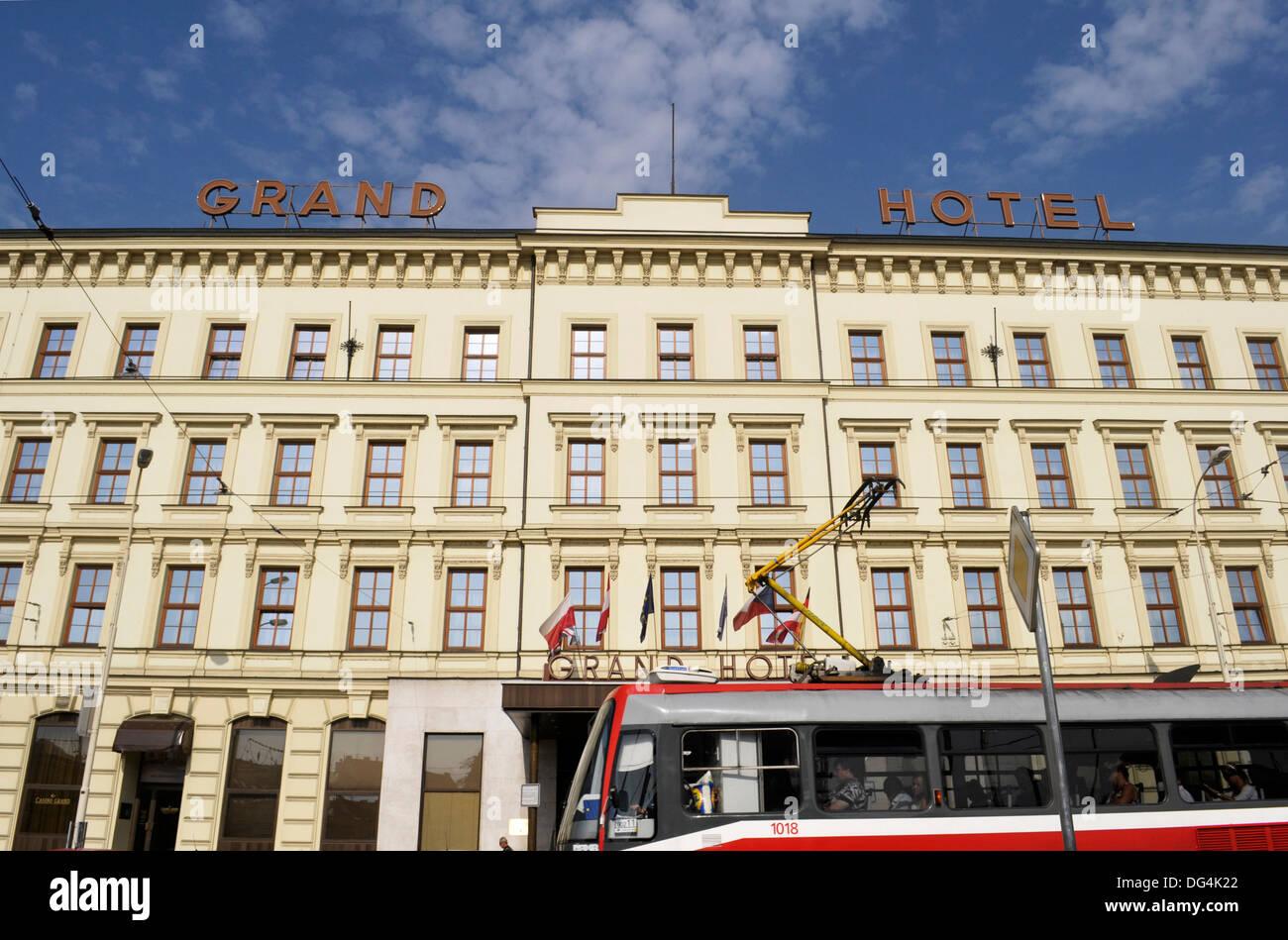 Tram and Grand Hotel Brno, Benesova, Brno, Czech Republic - Stock Image