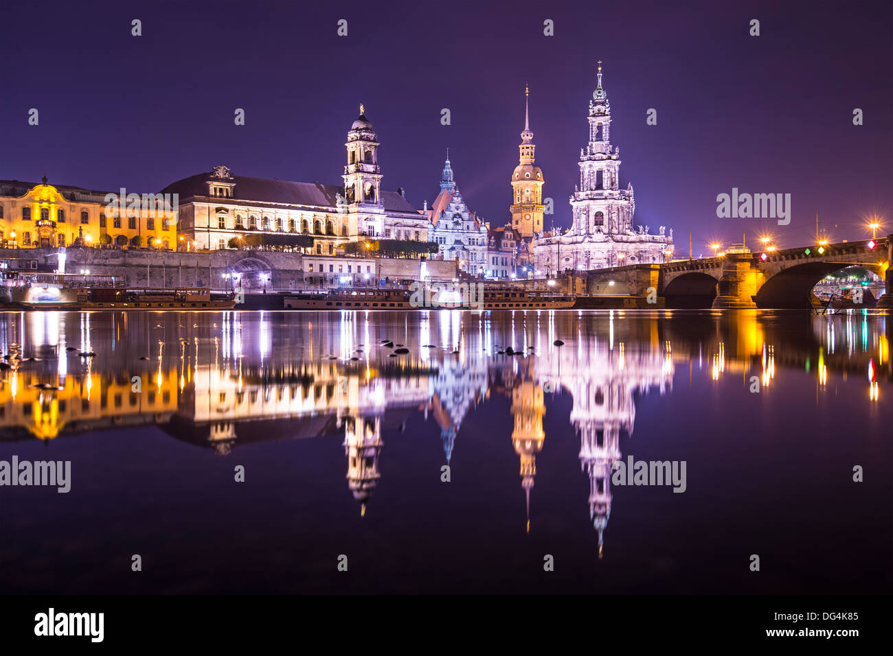 Dresden, Germany cityscape over the Elbe River. - Stock Image
