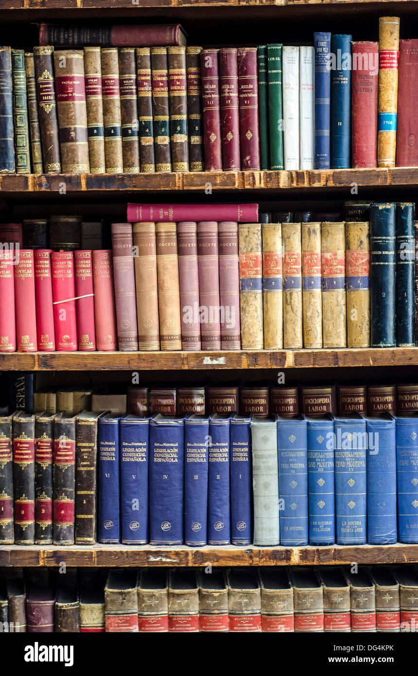 Stacked 2nd hand books in Madrid city centre, Spain - Stock Image