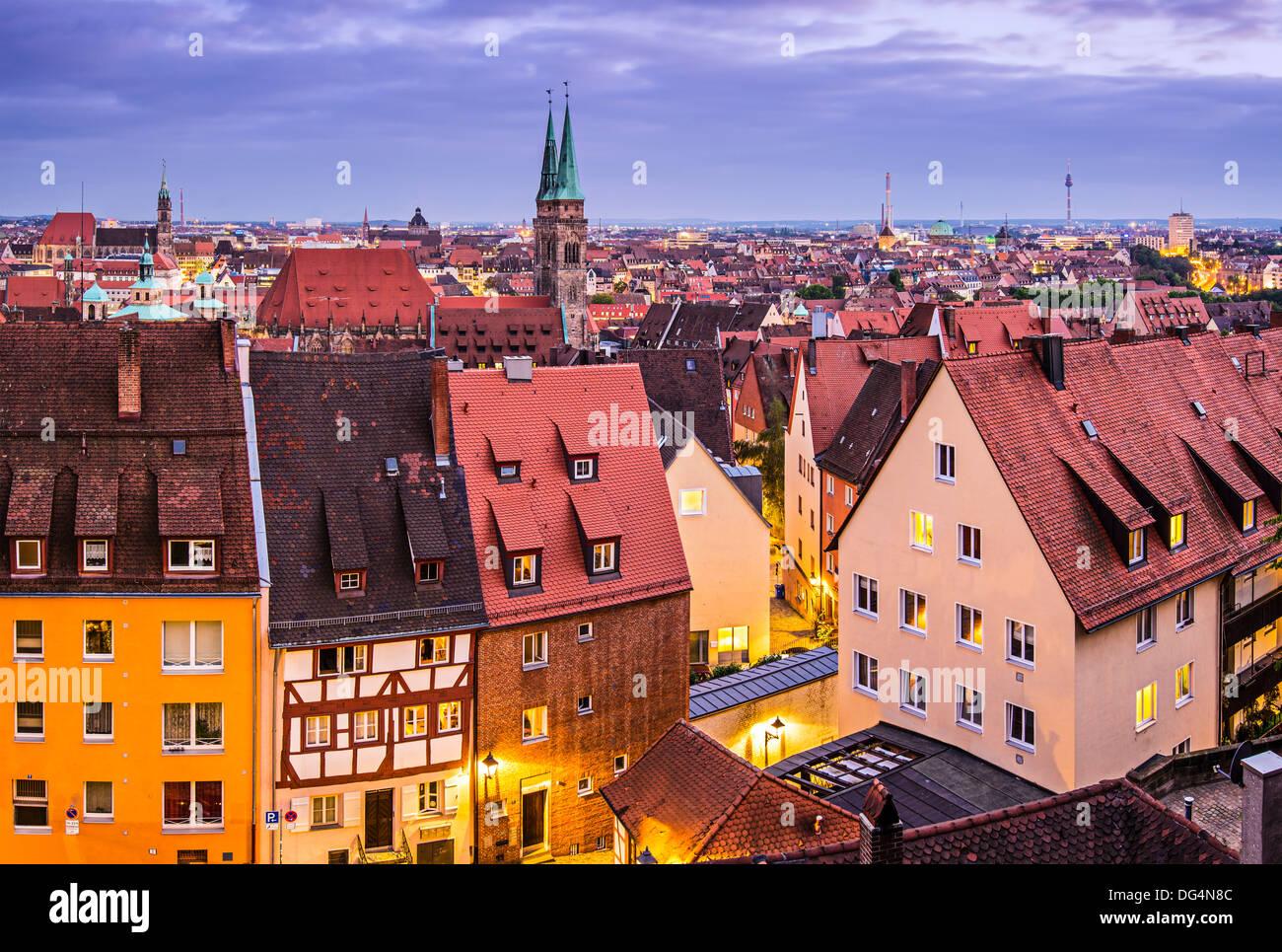 Skyline of Nuremberg, Germany at night. - Stock Image