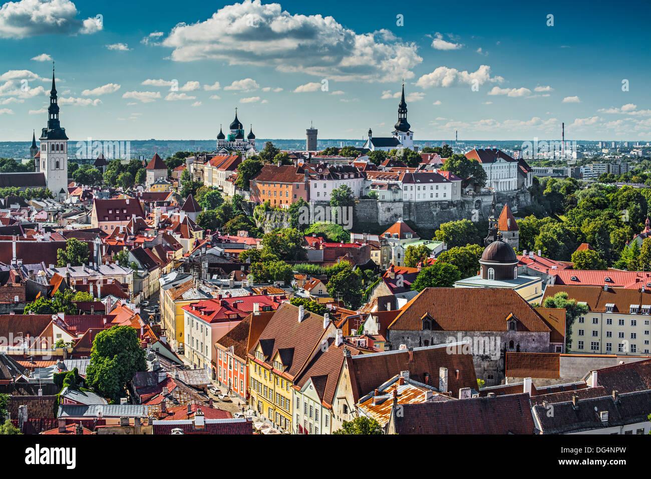 Skyline of Tallinn, Estonia at the old city. - Stock Image
