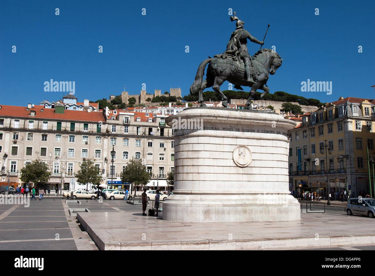 Equestre Statue to king John I in Figueira Square, Lisbon, Portugal - Stock Image