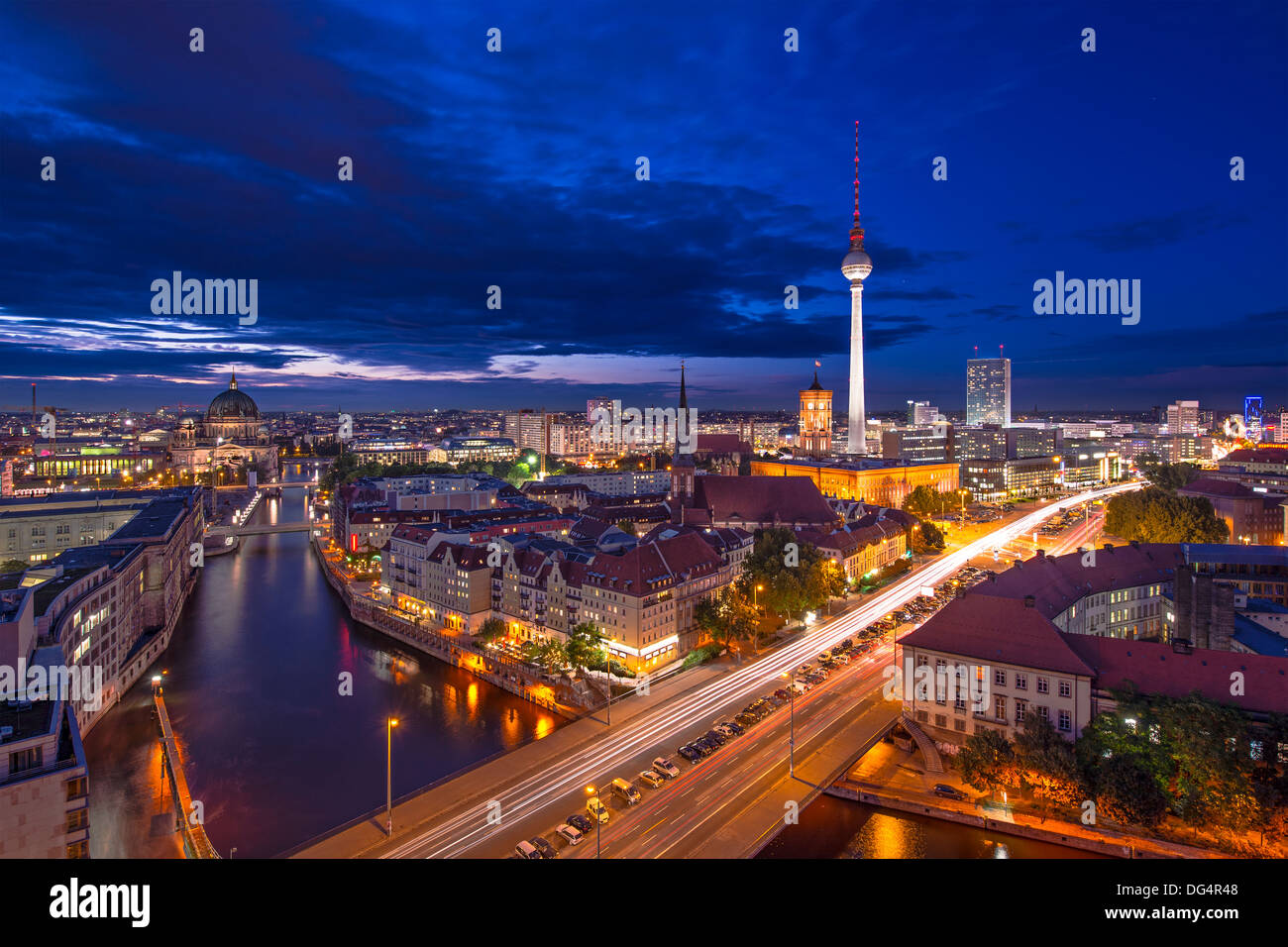 Berlin, Germany viewed from above the Spree River. - Stock Image