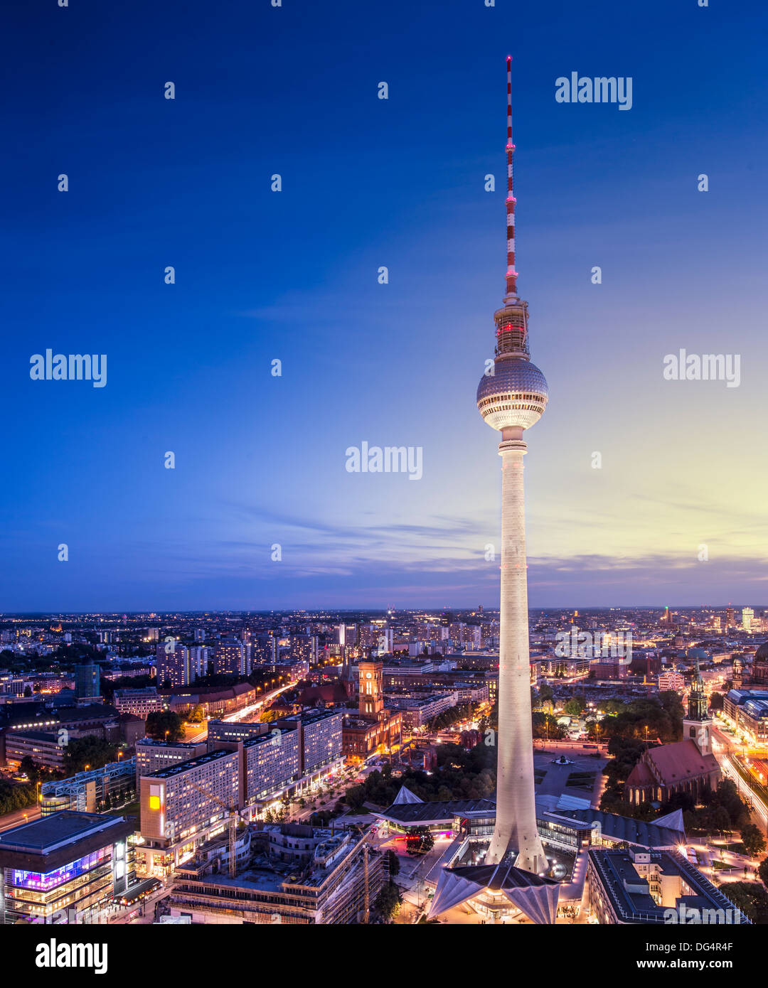 Berlin, Germany view of TV tower. Stock Photo