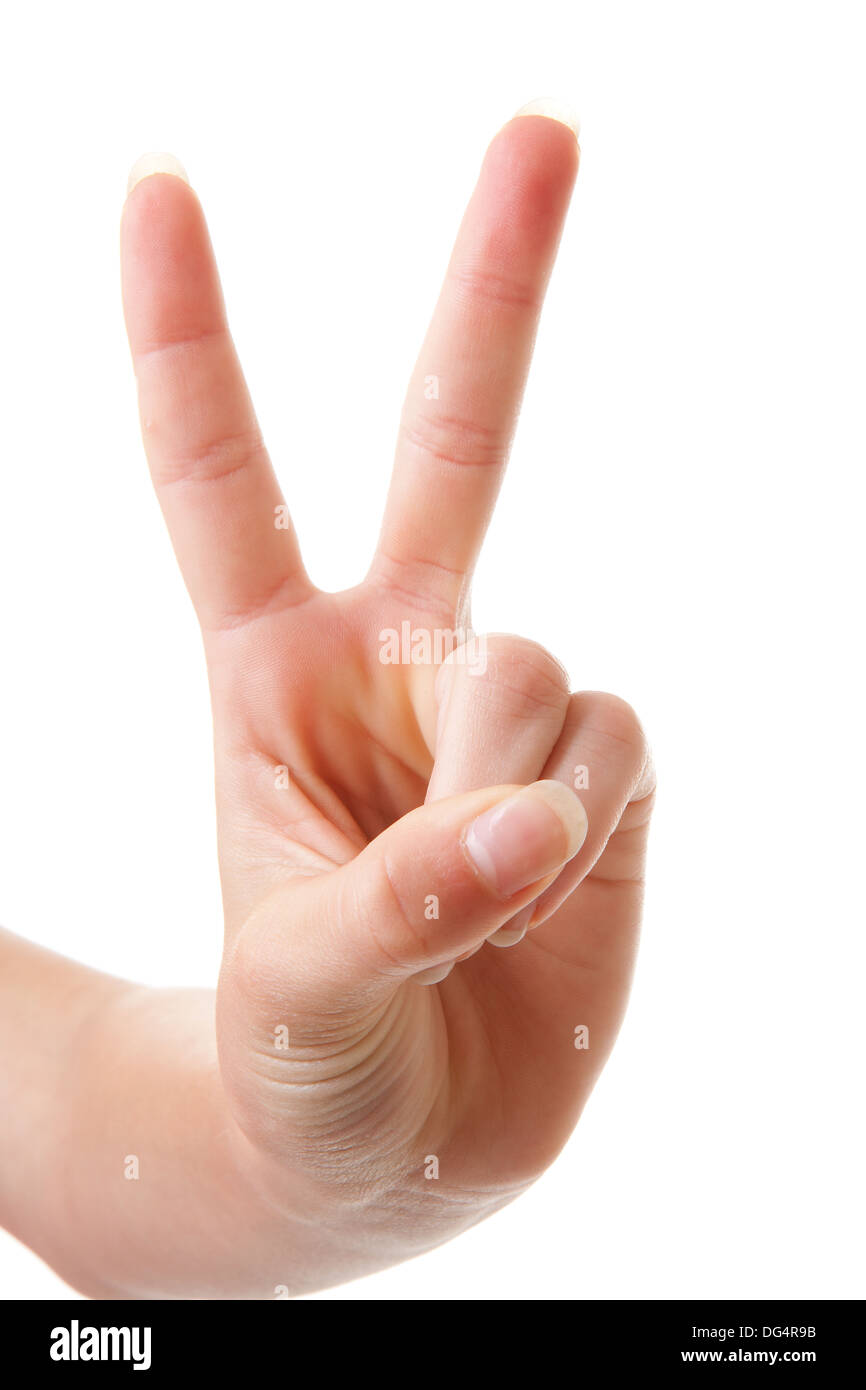 Hand is counting number 2 over white background - Stock Image