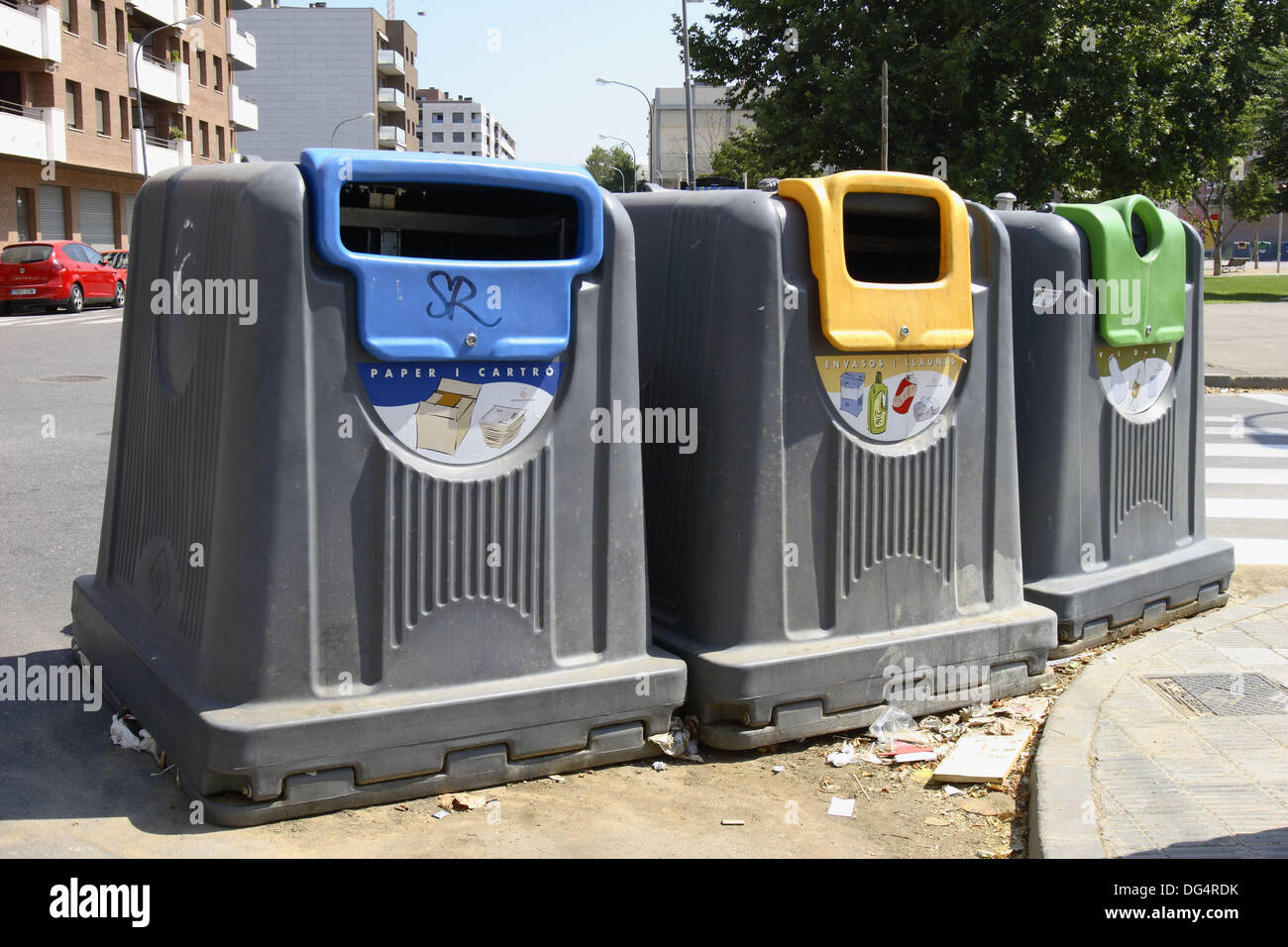 Recycling containers for glass, paper and plastic. Lleida, Segria, Catalonia, Spain Stock Photo