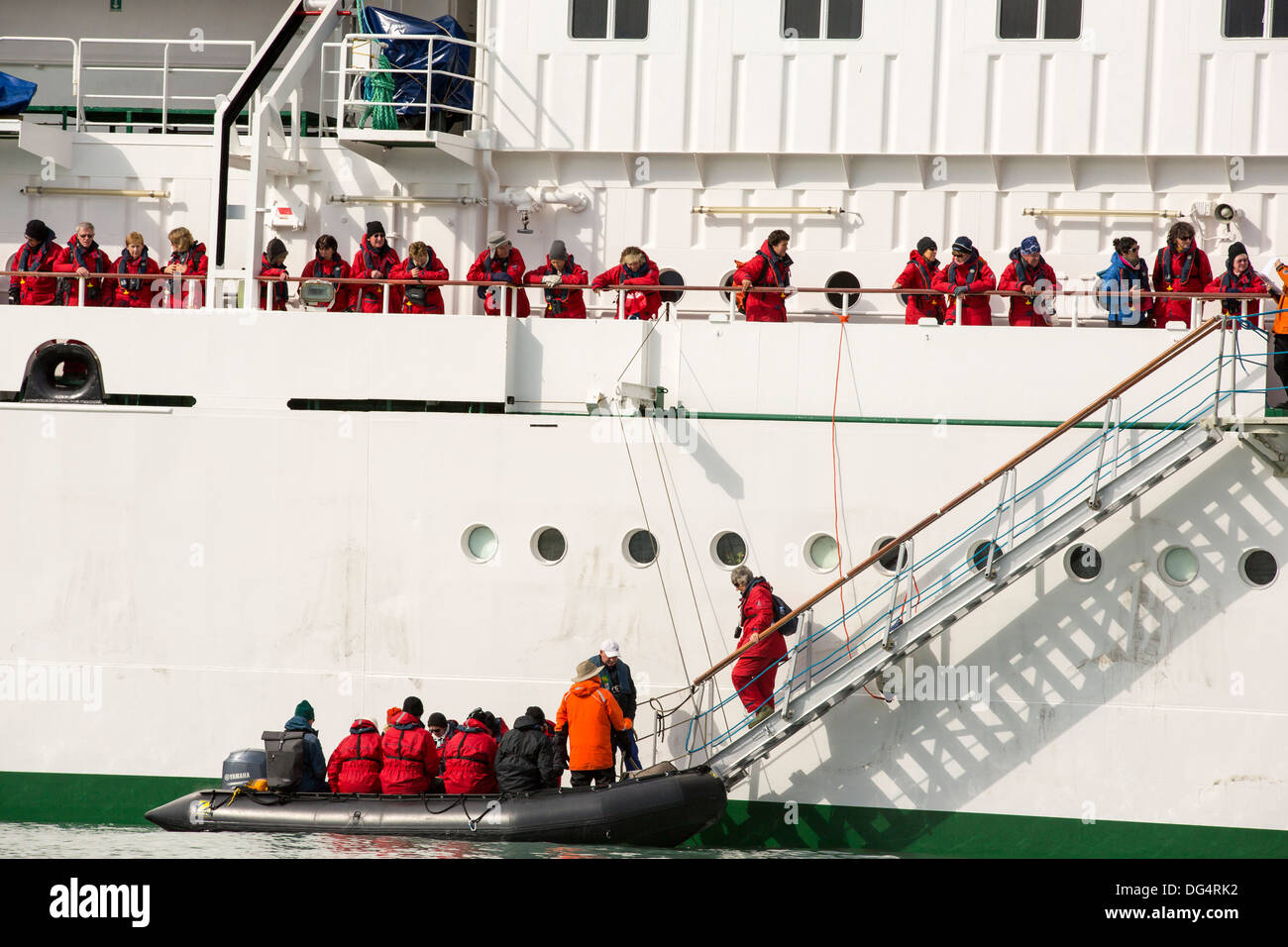 The Russian research vessel, AkademiK Sergey Vavilov an ice strengthened ship on an expedition cruise to Northern Svalbard - Stock Image