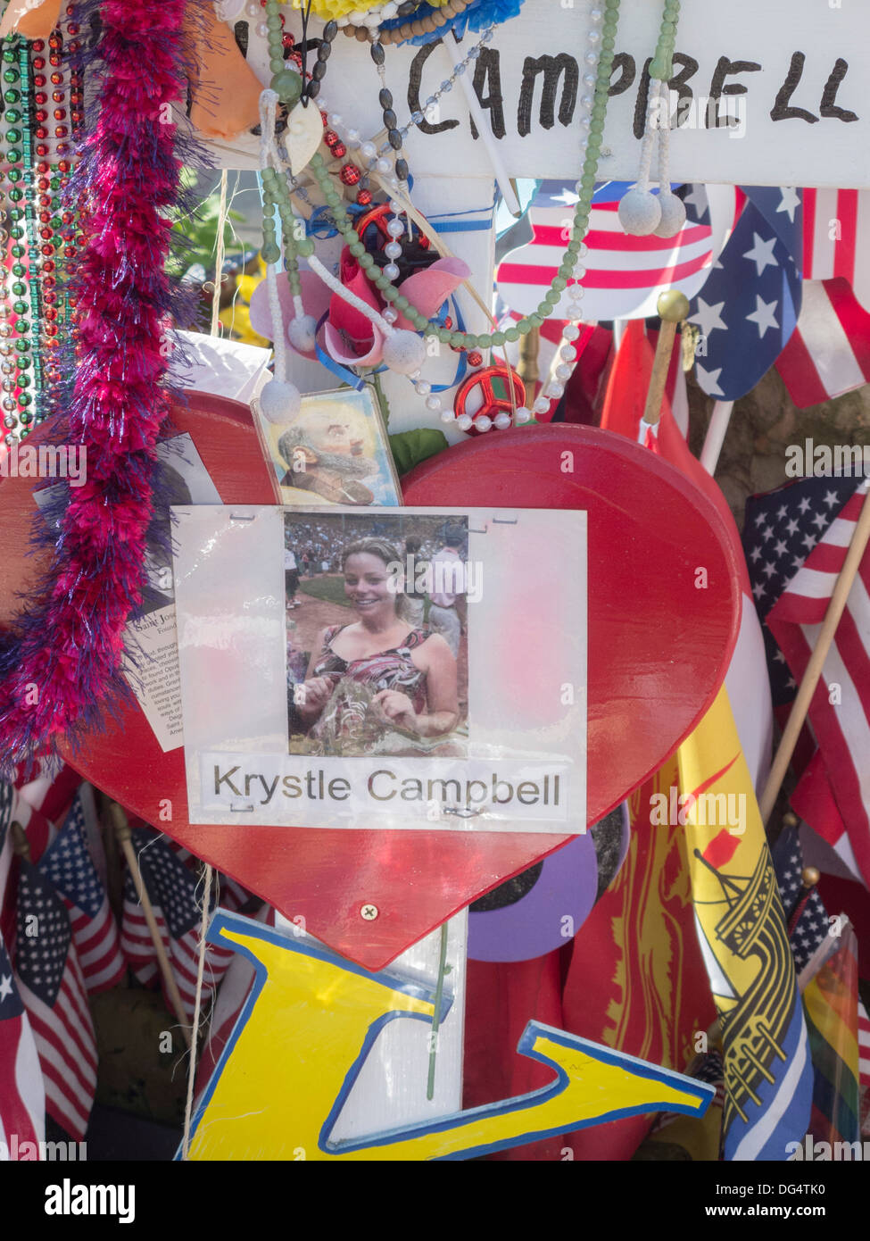 unofficial tribute to the Boston Marathon Bombing victim Krystle Campbell Stock Photo