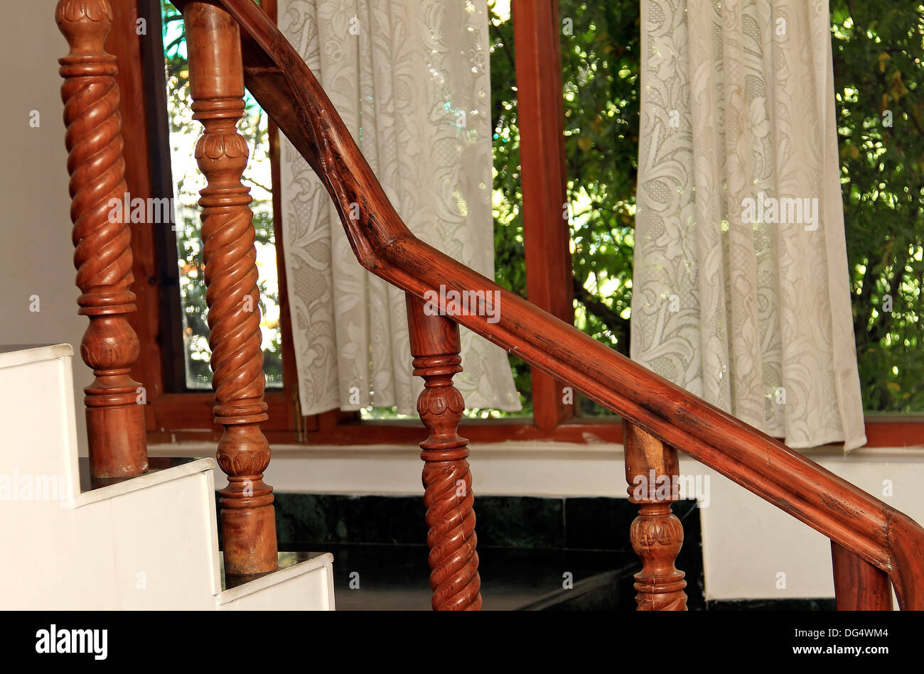 Interior luxury home - railing and  curtain - Stock Image