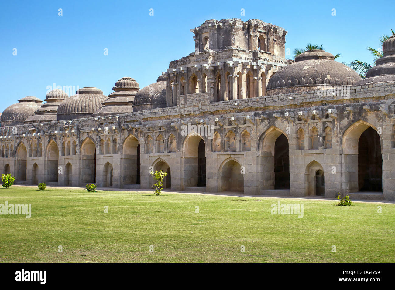 Ancient ruins of Elephant Stables. Hampi, India - Stock Image