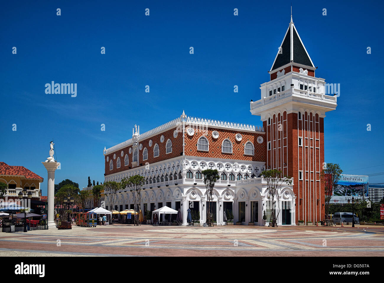 Venetian styled architecture at a newly Venice styled shopping mall appropriately named The Venezia Hua Hin Thailand Asia - Stock Image