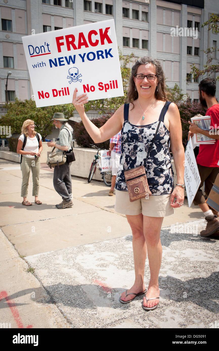 Anti-fracking protestor, Utica, New York. - Stock Image