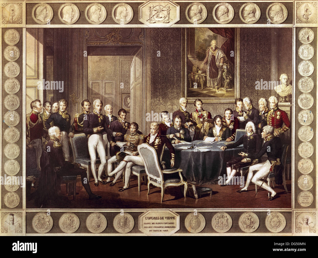 Congress of Vienna chaired by Austrian statesman Metternich. Colored engraving. Stock Photo