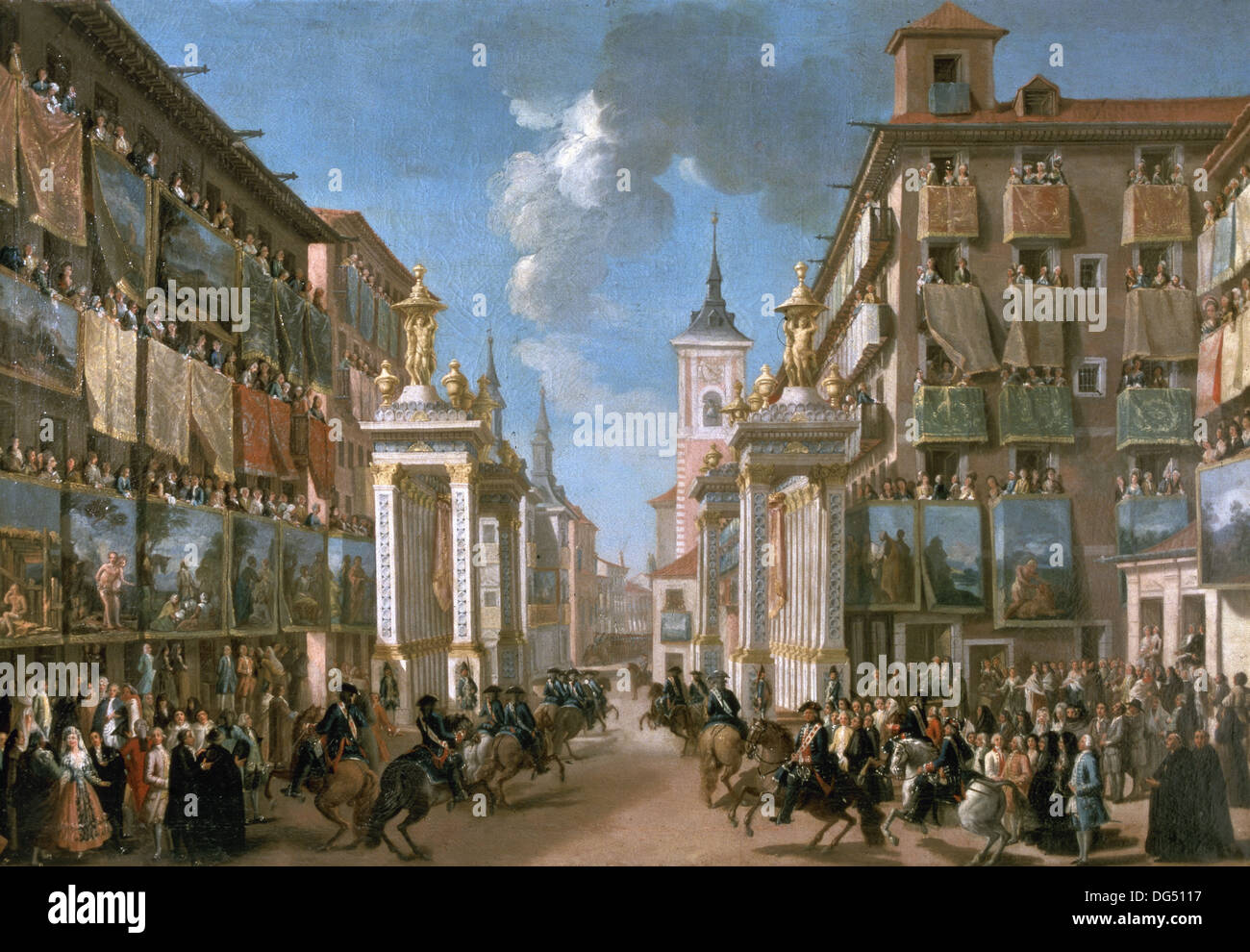 Lorenzo Quiros (1717-1789). The king Charles III entry in Madrid. Spain.1760 through Mayor street. - Stock Image