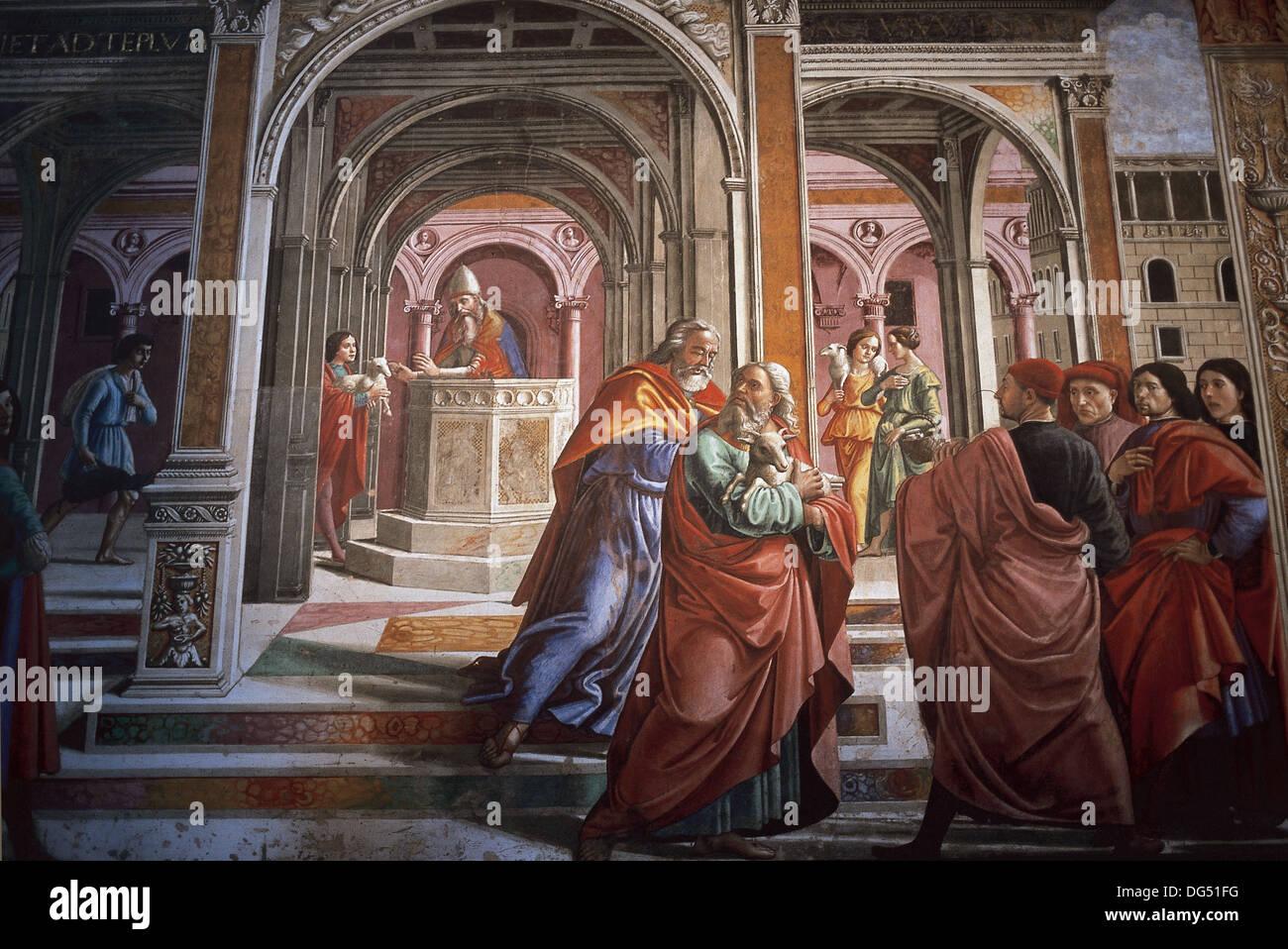 Domenico Ghirlandaio (1449 –1494). The Expulsion of Joachim from the Temple. Tornabuoni Chapel. Santa Maria Novella. Florence. - Stock Image