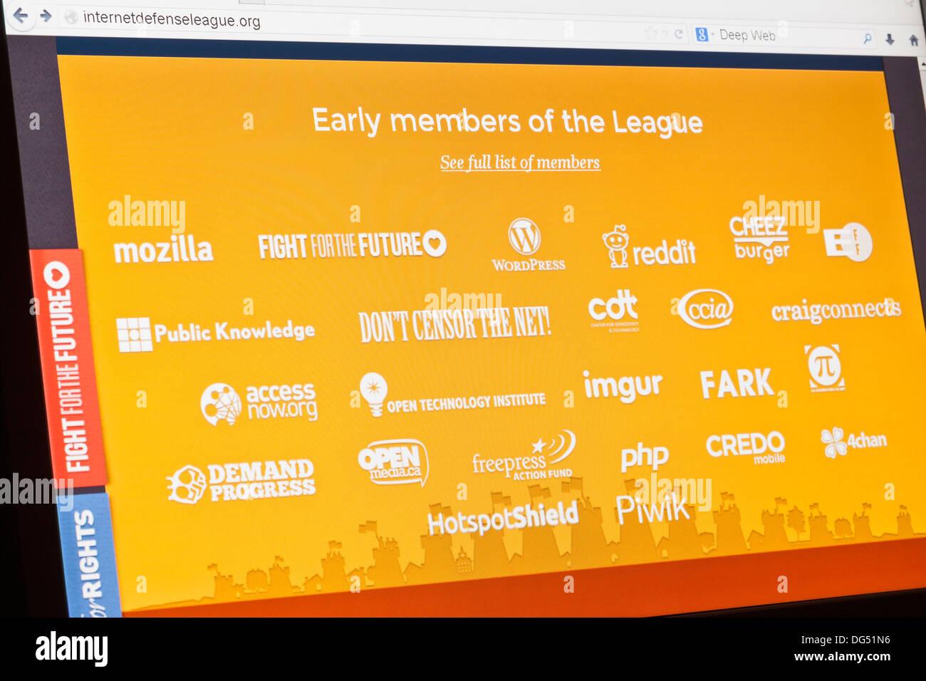 Screenshot of the internet defense league homepage - Stock Image