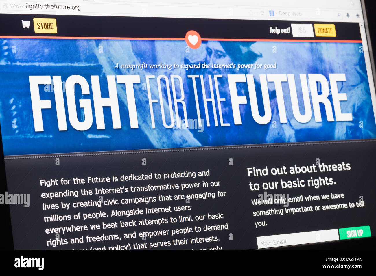Screenshot of the fight for the future homepage - Stock Image