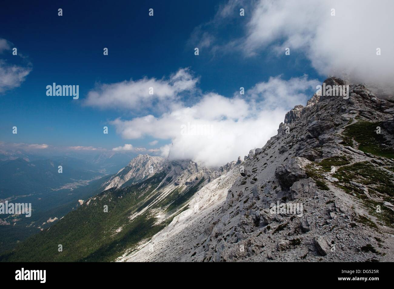 Panoramic view during the ascent of Sfornioi nord peak in the Belluno Dolomites, Unesco world natural heritage site, - Stock Image
