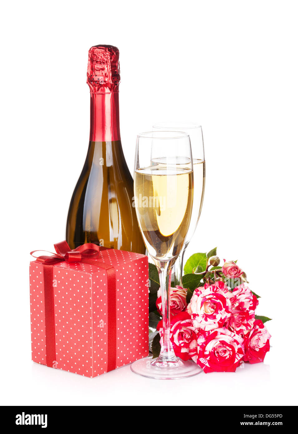 Champagne Bottle Two Glasses Gift Box And Red Rose Flowers Stock