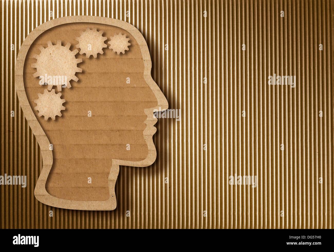Human head model made from cardboard - Stock Image
