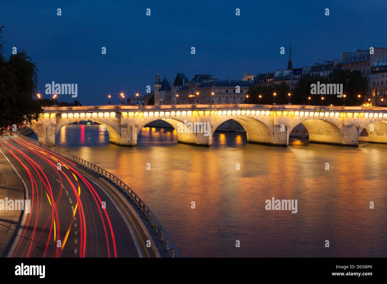 Pont Neuf and Seine, Paris, Ile de France, France - Stock Image