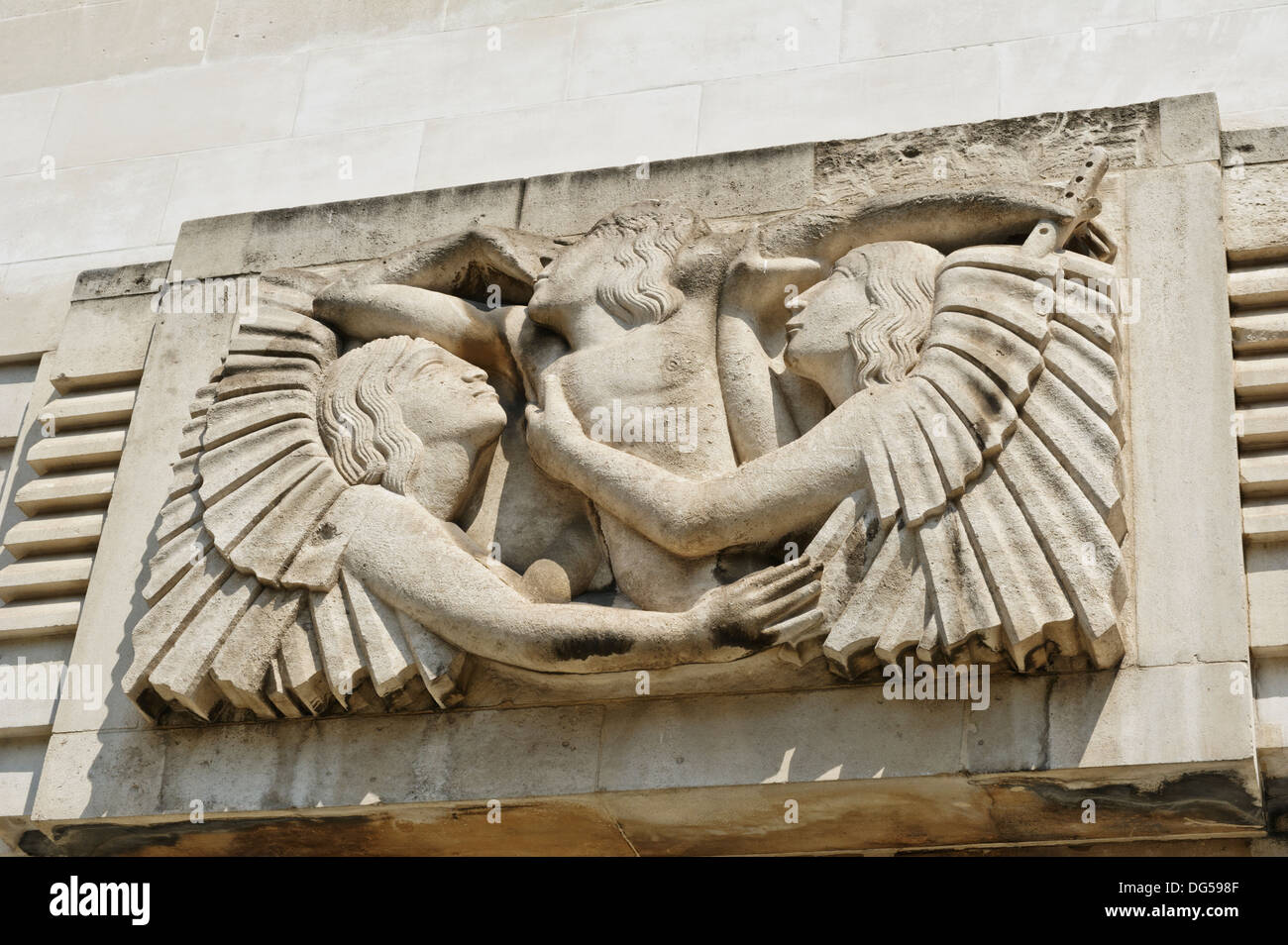 'Ariel hearing Celestial music' at the side of the BBC Broadcasting House, London, England, United Kingdom. - Stock Image