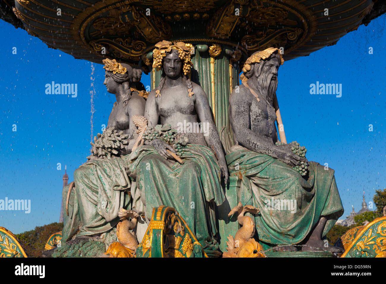 Fontaine des Fleuves, Concorde square, Paris, Ile de France, France - Stock Image