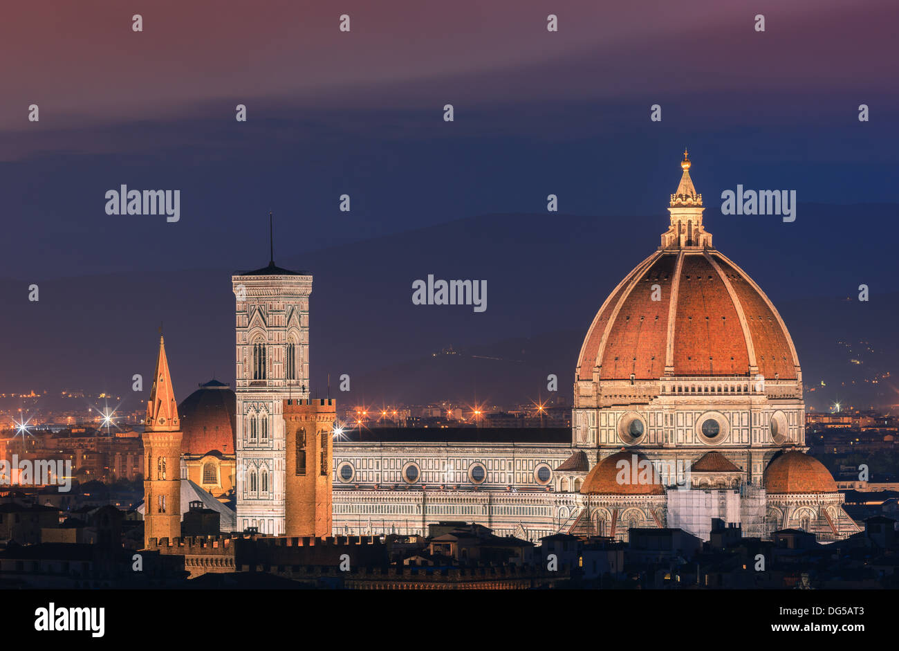 The Basilica di Santa Maria del Fiore (Basilica of Saint Mary of the Flower) is the main church of Florence - Stock Image