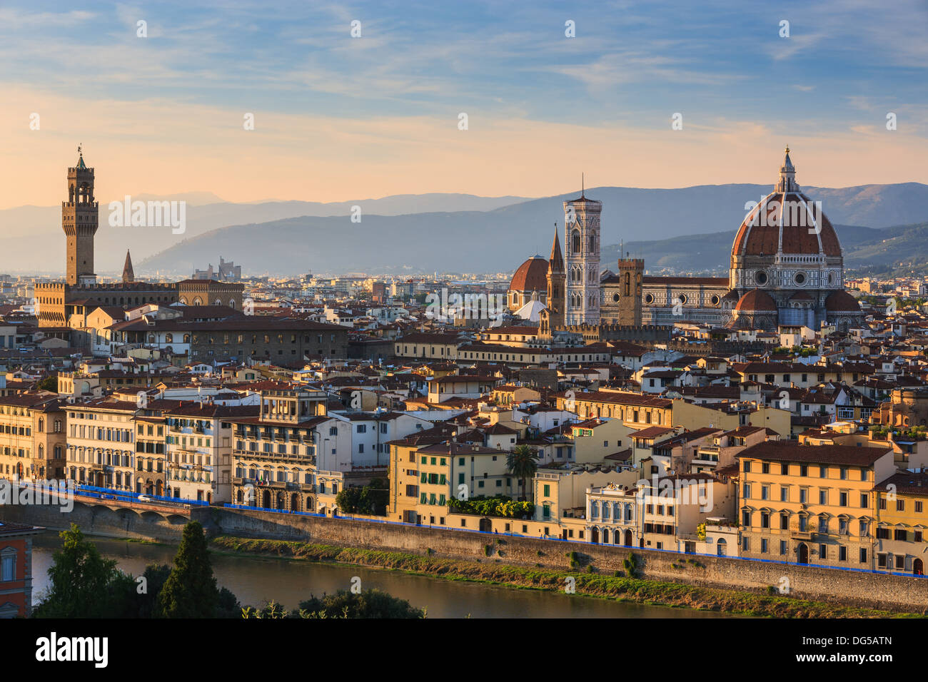 View over Florence with Palazzo Vecchio and Basilica di Santa Maria del Fiore. Taken from Piazzale Michelangelo - Stock Image