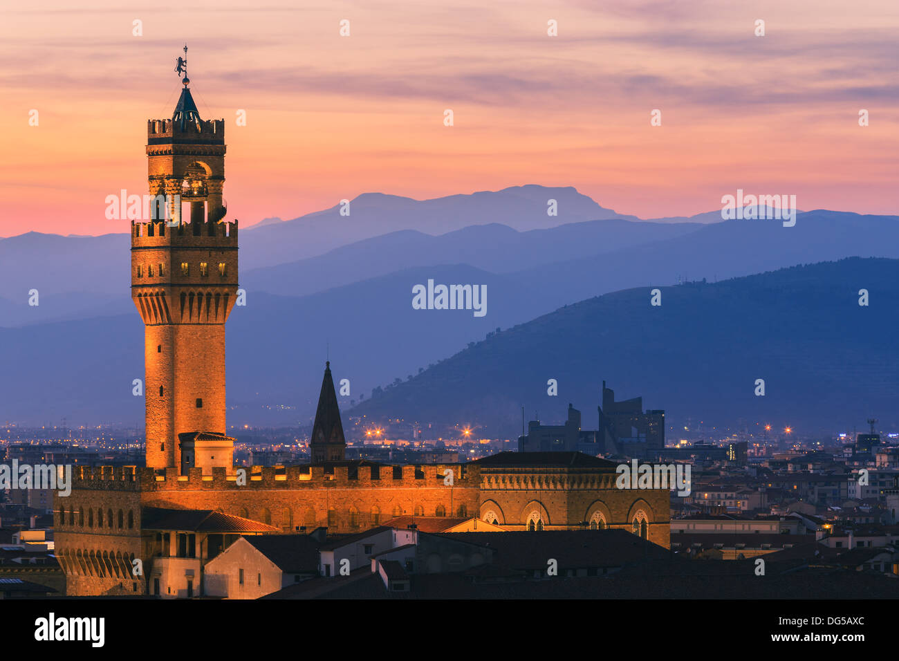 The Palazzo Vecchio is the town hall of Florence, Italy. Taken from Piazzale Michelangelo - Stock Image