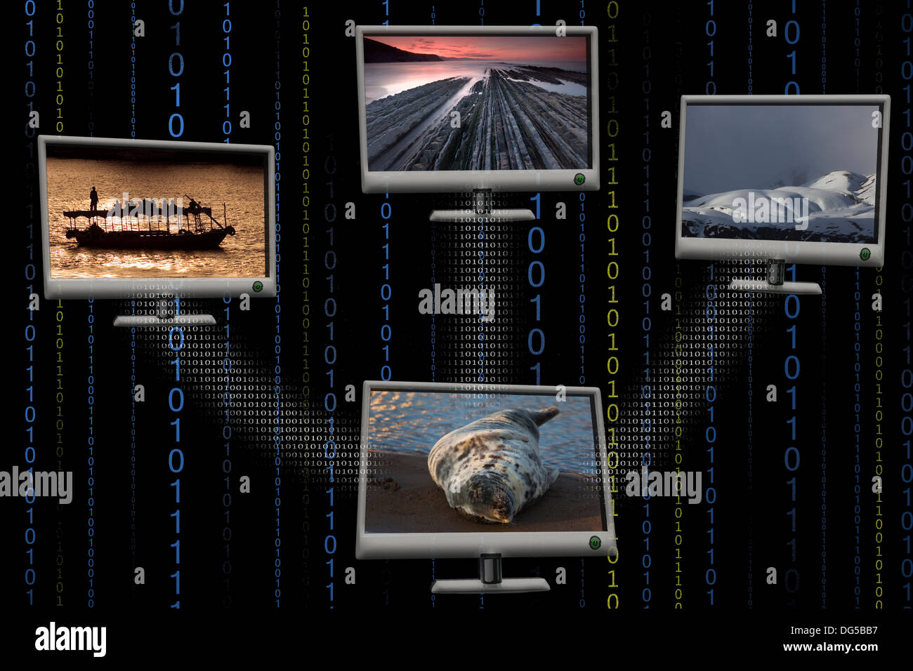 Multiple screens in black background - Stock Image
