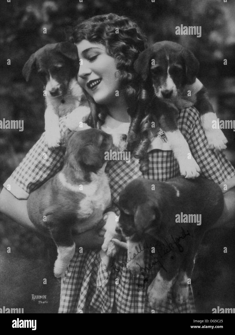 Actress Mary Pickford with Four Puppies, Circa 1910's - Stock Image