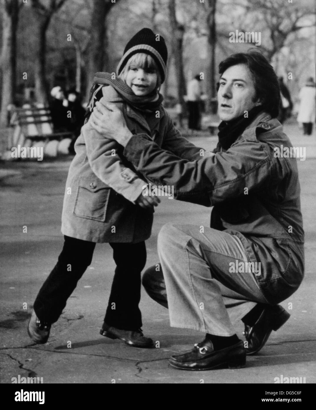 Dustin Hoffman and Justin Henry, on-set of the Film, 'Kramer vs. Kramer', Columbia Pictures, 1979 - Stock Image